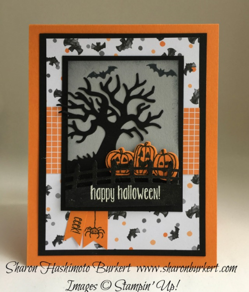 Spooky Fun stamp set, Halloween Scenes Edgelit dies, www.sharonburkert.com, #stampinup