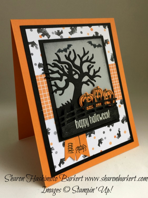 Spooky Fun stamp  set, Halloween Scenes Edgelits, www.sharonburkert.com, #stampinup